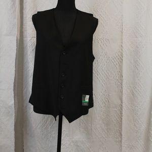 NWT Perry Ellis Portfolio Black Pinstripe Vest